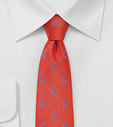 Orange-Coral Fishhook Necktie