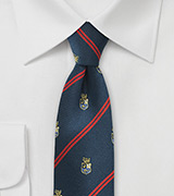 Collegiate Regimental Skinny Tie in Navy