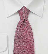 Autumn Red Wool Tie with Herringbone Design