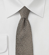 Brown Herringbone Skinny Wool Tie