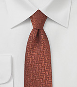 Rust Red Herringbone Wool Necktie