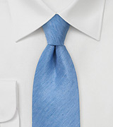 Woven Herringbone Linen Tie in Light Blue