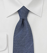 Men's Herringbone Linen Tie in Navy