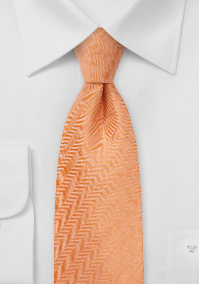 Men\'s Herringbone Tie in Tangerine