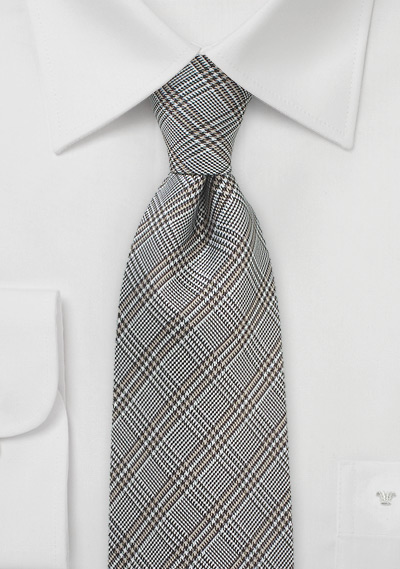 Glen Check Designer Silk Tie in Grays and Taupes