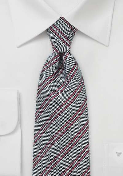 Red and Gray Glen Check Silk Tie