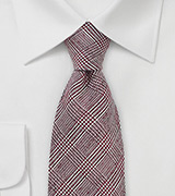 Autumn Glen Check Wool Tie in Burgundy
