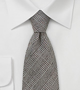 Glen Check Tie in Dark Brown