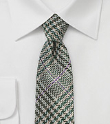 Green Raw Silk Plaid Tie