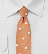 Pastel Orange Tie in Bold Dots