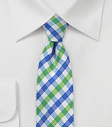 Blue and Lime Green Gingham Tie