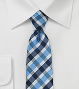 Summer Gingham Tie in Blues
