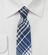 Dark Blue Plaid Skinny Tie
