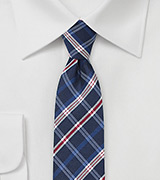 Red and Blue Skinny Plaid Silk Neck Tie