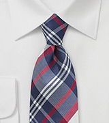 Elegant Silk Tie with Blue and Red Tartan Plaid Design