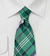 Green and Navy Tartan Plaid Tie in XL Length