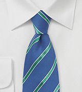Blue Summer Tie with Mint Green Stripes