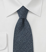 Midnight Blue Wool Necktie with Barleycorn Textured Weave