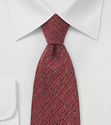 Deep Red Barleycorn Wool Necktie