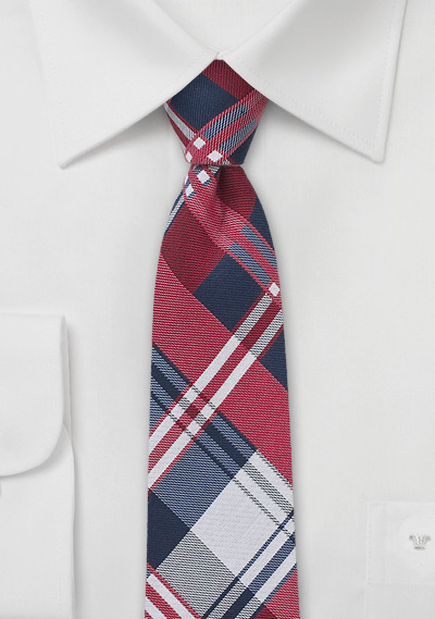 Kids Plaid Tie in Red, Navy, and White