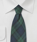 Hunter Green and Blue Plaid Wool Necktie