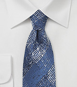 Vallarta Blue Plaid Tie in Wool and Silk