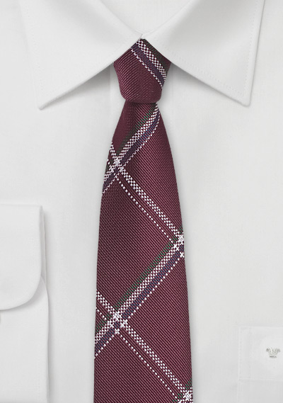 Plaid Silk Tie in Pomegranate Red