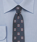 Navy Skinny Tie with Medallion Design