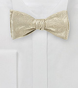 Golden Champagne Silk Bow Tie