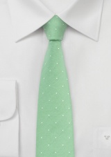 Cotton Polka Dot Tie in Light Green