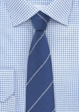 Narrow Cut Wool Tie in Elegant Blue
