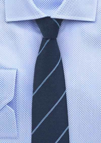 Wool Pencil Stripe Tie in Classic Navy