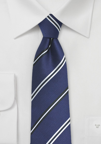 Repp Stripe Designer Tie in Deep Blue
