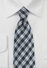 Trendy Check Wool Tie in Navy and Silver
