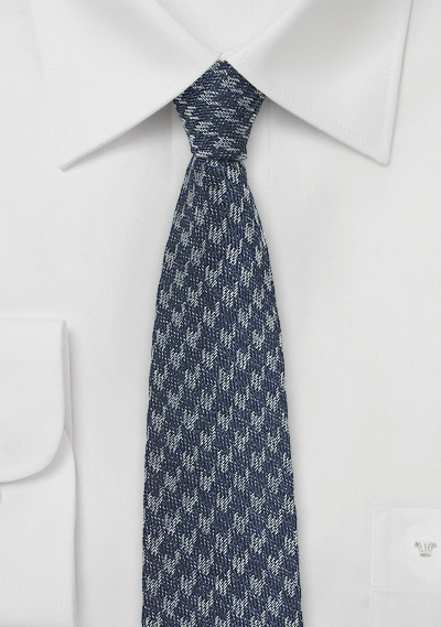Silk Denim Tie with Houndstooth Design