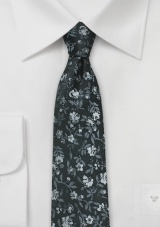 Charcoal and Silver Floral Silk Tie