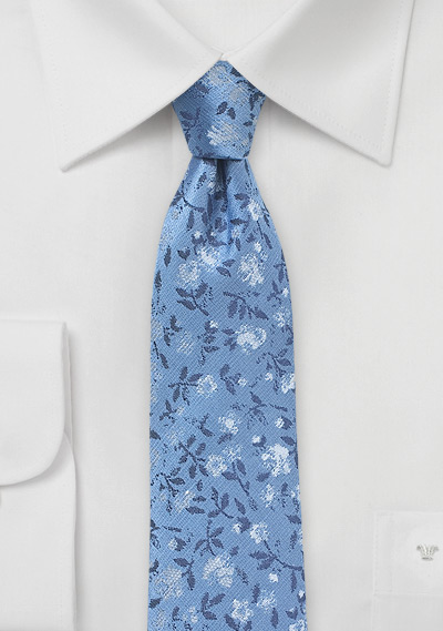 Silver and Blue Floral Skinny Tie