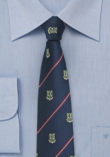 Repp Stripe Tie in Navy with Crests