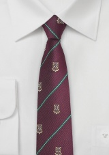 Chestnut Colore Repp Tie with Crest