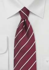 Burgundy Red and Silver Tie
