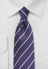 Bright Grape Colored Striped Silk Tie