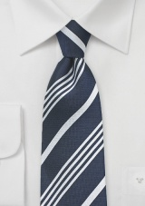 Elegant Navy and Silver Silk Tie