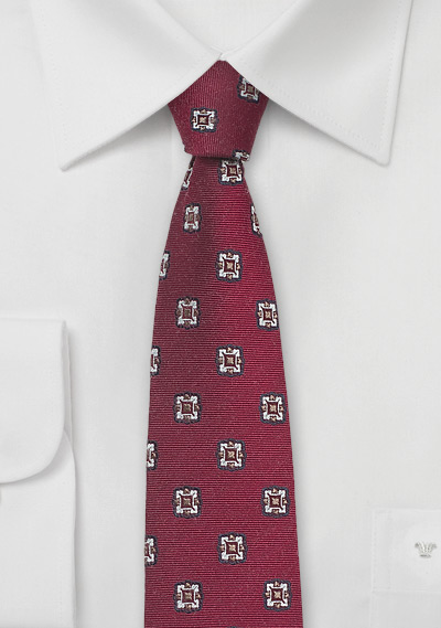 Retro Skinny Tie Wine Red