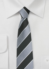 Repp Stripe Skinny Tie in Silver and Black