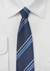 Narrow Striped Tie in Navy