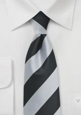 Elegant Silver and Black Repp Striped Tie