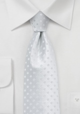 Solid White Mens Tie with White Dots