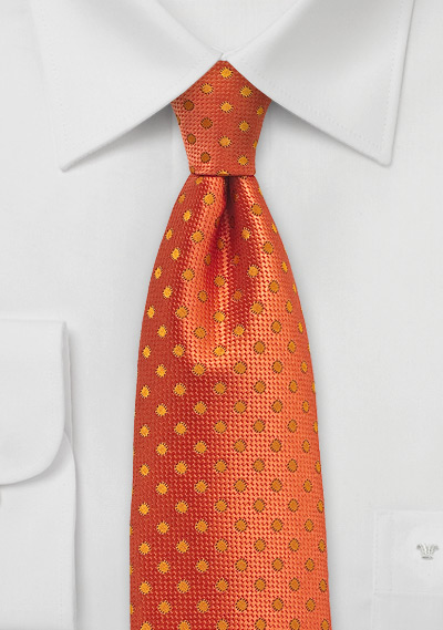 Firecracker Orange Polka Dot Tie