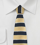 Yellow and Navy Striped Knit Tie