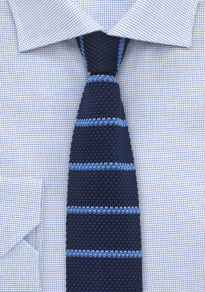 Striped Silk Knit Tie in Navy and Light Blue